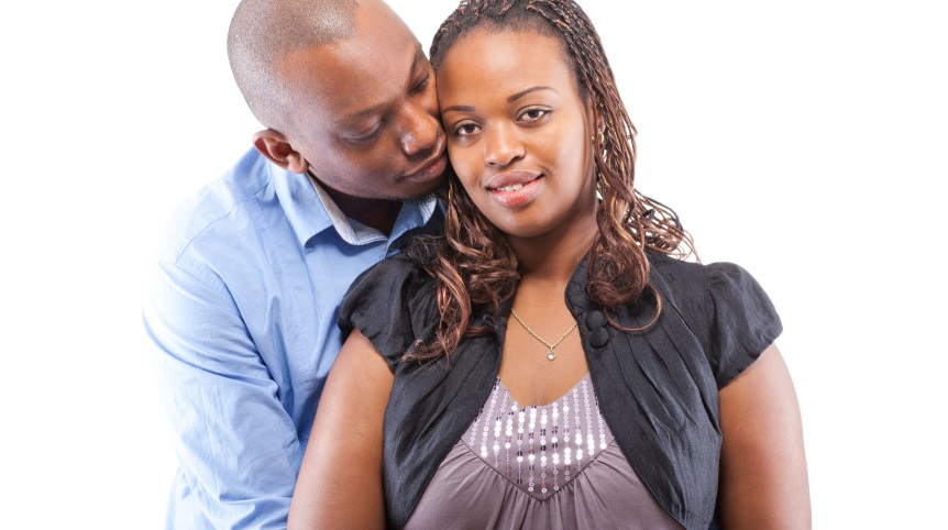black young couple isolated
